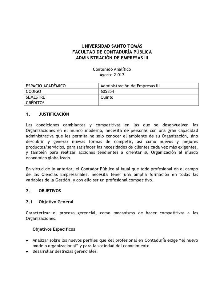 UNIVERSIDAD SANTO TOMÁS                         FACULTAD DE CONTADURÍA PÚBLICA                          ADMINISTRACIÓN DE ...