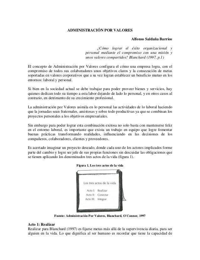 ADMINISTRACIÓN POR VALORES Alfonso Saldaña Barrios ¿Cómo lograr el éxito organizacional y personal mediante el compromiso ...