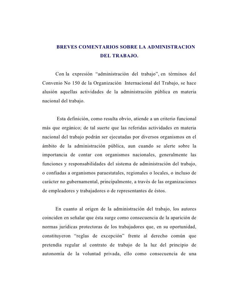 """BREVES COMENTARIOS SOBRE LA ADMINISTRACION                            DEL TRABAJO.      Con la expresión """"administración d..."""