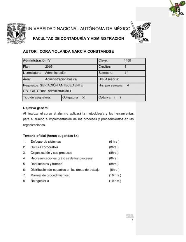 1 UNIVERSIDAD NACIONAL AUTÓNOMA DE MÉXICO FACULTAD DE CONTADURÍA Y ADMINISTRACIÓN AUTOR : CORA YOLANDA NARCIA CONSTANDSE O...