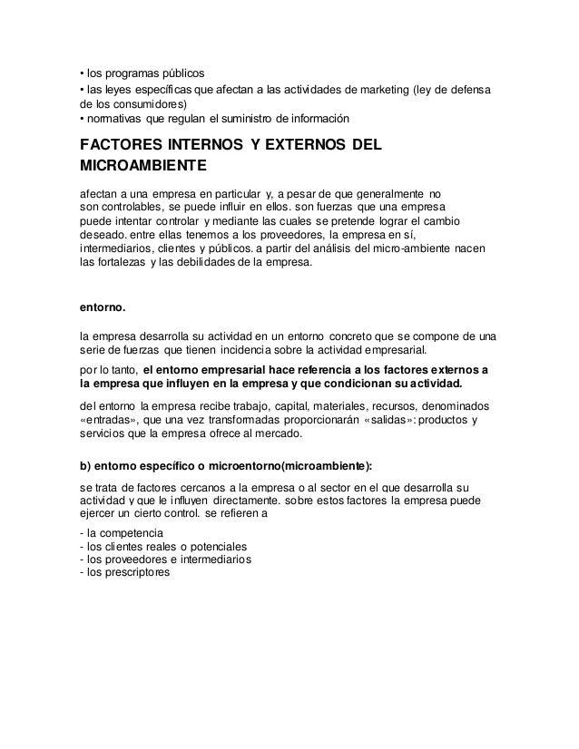 Factores Internos Y Externos Del Macro Ambiente De Las Empresa
