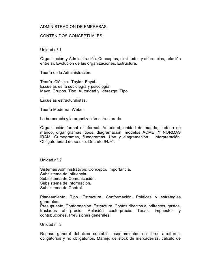 ADMINISTRACION DE EMPRESAS.  CONTENIDOS CONCEPTUALES.   Unidad nº 1  Organización y Administración. Conceptos, similitudes...