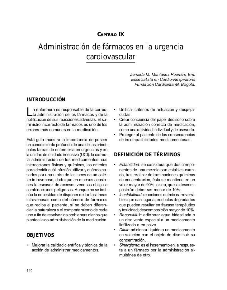 GUÍAS PARA MANEJO DE URGENCIAS                                              CAPÍTULO IX         Administración de fármacos...