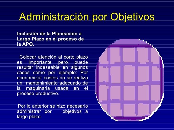 Administración por Objetivos <ul><li>Inclusión de la Planeación a Largo Plazo en el proceso de la APO. </li></ul><ul><li>C...