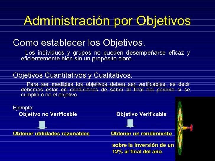 Administración por Objetivos <ul><li>Como establecer los Objetivos. </li></ul><ul><li>Los individuos y grupos no pueden de...