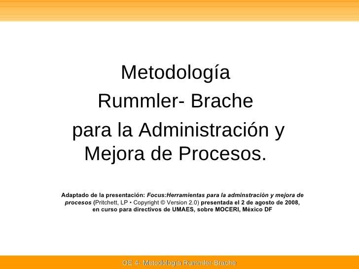 Metodología  Rummler- Brache  para la Administración y Mejora de Procesos.  Adaptado de la presentación:  Focus:Herramient...