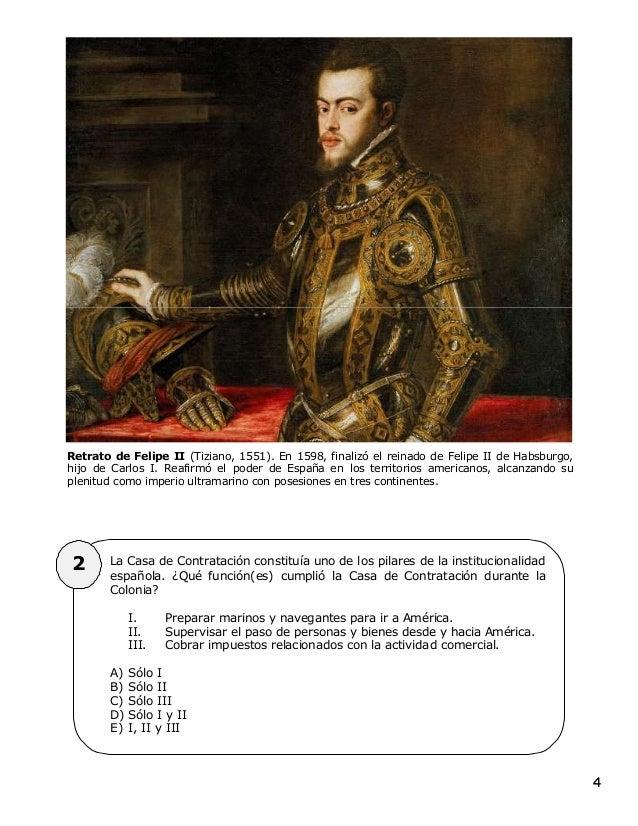 44 Retrato de Felipe II (Tiziano, 1551). En 1598, finalizó el reinado de Felipe II de Habsburgo, hijo de Carlos I. Reafirm...