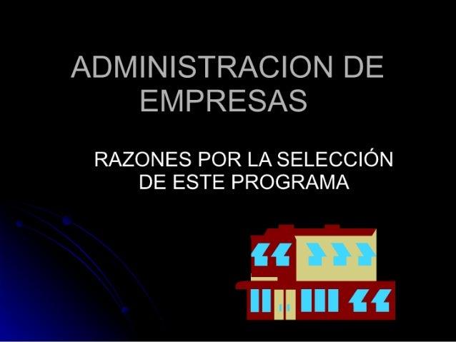 Administracion de empresas: RAZONES