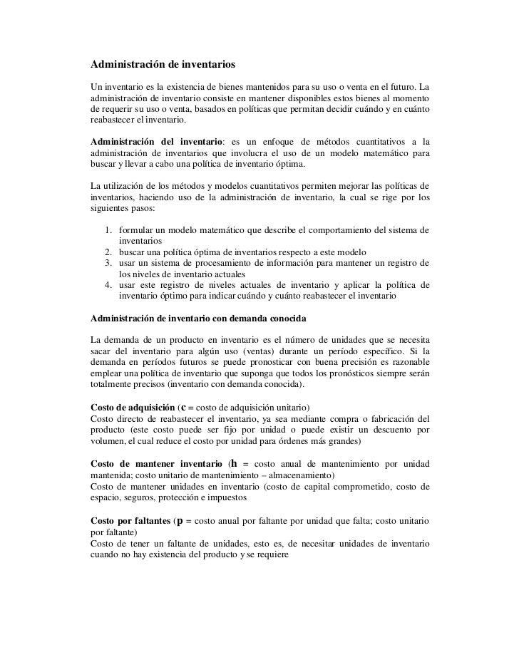 Administracion de inventario con demanda conocida for Consulta demanda de empleo