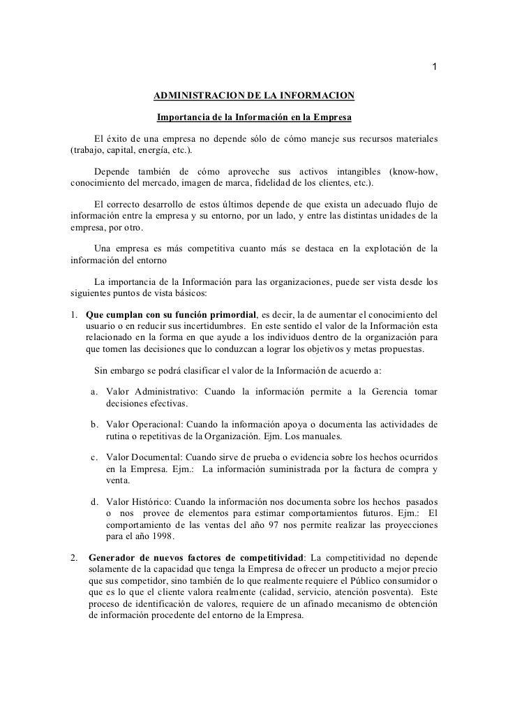 1                     ADMINISTRACION DE LA INFORMACION                     Importancia de la Información en la Empresa    ...