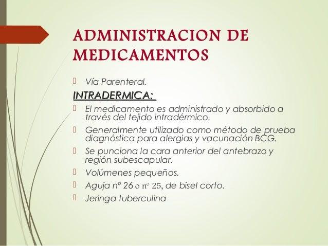 ADMINISTRACION DE MEDICAMENTOS  Vía Parenteral. INTRADERMICA:INTRADERMICA:  El medicamento es administrado y absorbido a...