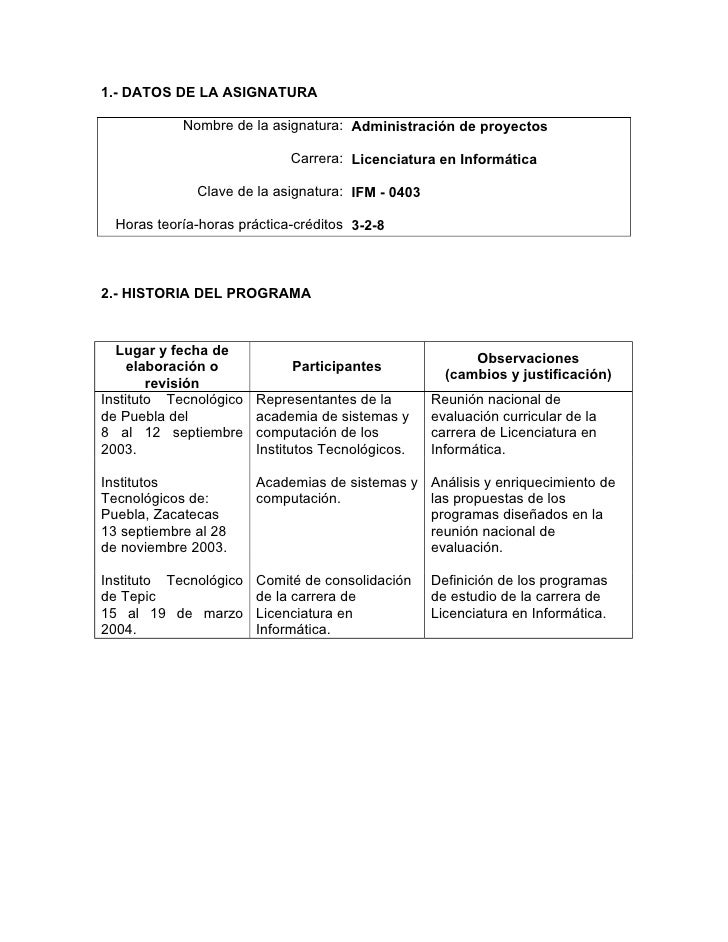 1.- DATOS DE LA ASIGNATURA            Nombre de la asignatura: Administración de proyectos                             Car...