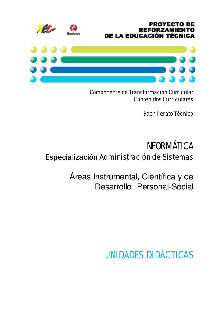 Componente de Transformación Curricular                            Contenidos Curriculares                                ...