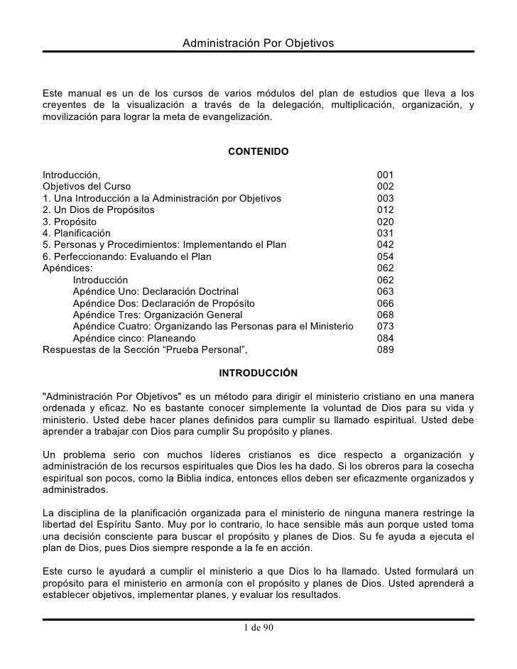 Administración Por Objetivos    Este manual es un de los cursos de varios módulos del plan de estudios que lleva a los cre...