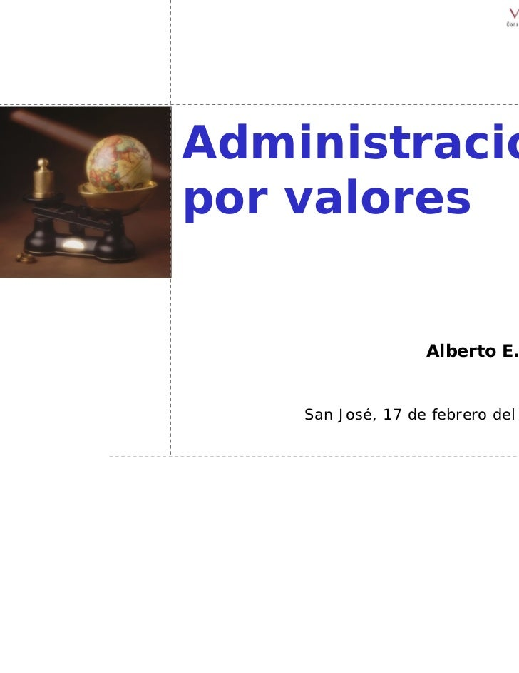 Administraciónpor valores                   Alberto E. Leer    San José, 17 de febrero del 2004