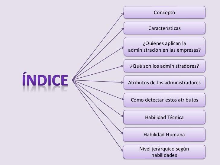 Concepto        Características      ¿Quiénes aplican laadministración en las empresas?¿Qué son los administradores?Atribu...