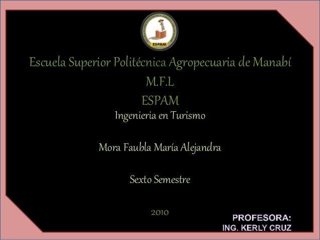 Escuela Superior Politécnica Agropecuaria de Manabí M.F.L ESPAM Ingenieria en Turismo Mora Faubla María Alejandra Sexto Se...