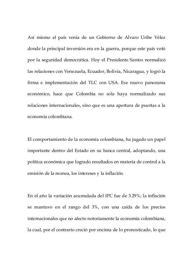 Administración y academia. el comportamiento de la economí colombiana en el año 2012. inocencio meléndez julio. Slide 2