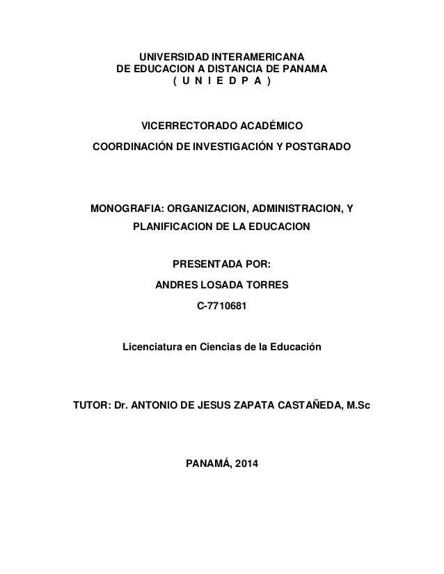 UNIVERSIDAD INTERAMERICANA DE EDUCACION A DISTANCIA DE PANAMA ( U N I E D P A ) VICERRECTORADO ACADÉMICO COORDINACIÓN DE I...