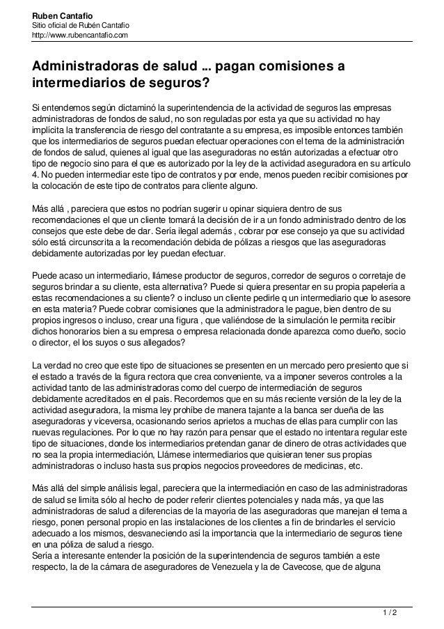 Ruben Cantafio Sitio oficial de Rubén Cantafio http://www.rubencantafio.com Administradoras de salud ... pagan comisiones ...
