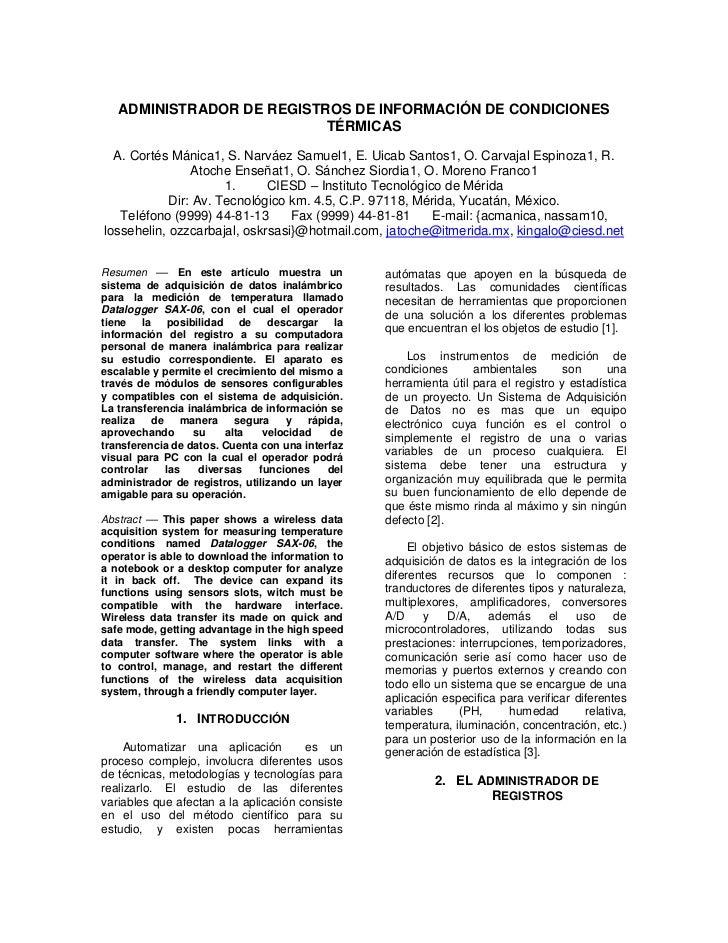 ADMINISTRADOR DE REGISTROS DE INFORMACIÓN DE CONDICIONES                           TÉRMICAS  A. Cortés Mánica1, S. Narváez...