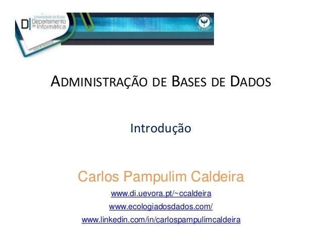 ADMINISTRAÇÃO DE BASES DE DADOS Introdução Carlos Pampulim Caldeira www.di.uevora.pt/~ccaldeira www.ecologiadosdados.com/ ...
