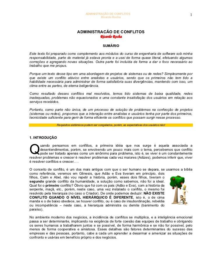 ADMINISTRAÇÃO DE CONFLITOS                                       1                                                Ricardo ...