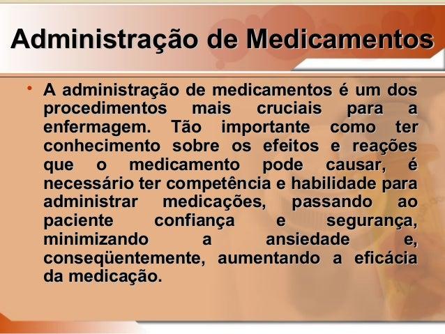 Administração de medicamentos em enfermagem Slide 2