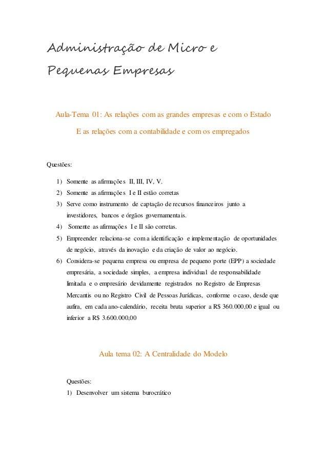 Administração de Micro e  Pequenas Empresas  Aula-Tema 01: As relações com as grandes empresas e com o Estado  E as relaçõ...