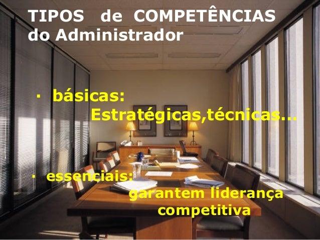 TIPOS de COMPETÊNCIAS do Administrador · básicas: Estratégicas,técnicas... · essenciais: garantem liderança competitiva