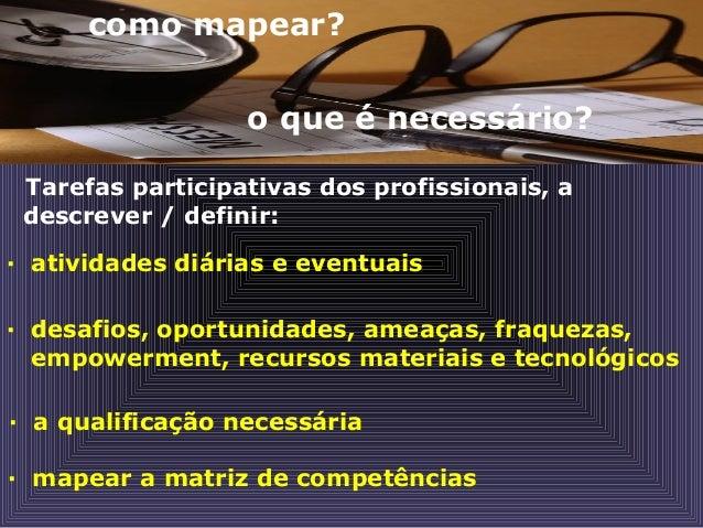como mapear? o que é necessário? Tarefas participativas dos profissionais, a descrever / definir: · atividades diárias e e...