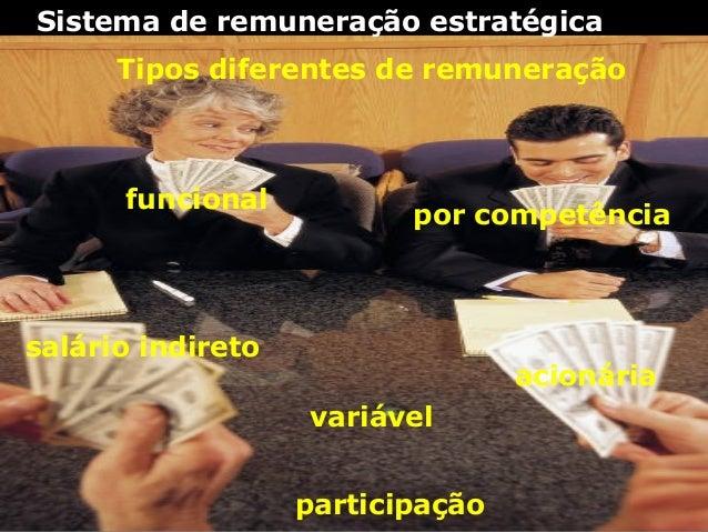 Sistema de remuneração estratégica Tipos diferentes de remuneração funcional salário indireto por competência variável aci...