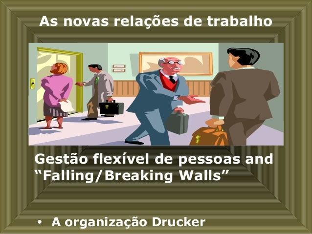 """As novas relações de trabalho Gestão flexível de pessoas and """"Falling/Breaking Walls""""  A organização Drucker"""
