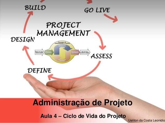 Page  1 Ueliton da Costa Leonidio Administração de Projeto Aula 4 – Ciclo de Vida do Projeto