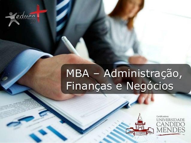 MBA – Administração, Finanças e Negócios