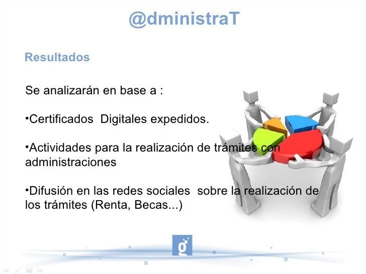@dministraTResultadosSe analizarán en base a :Certificados Digitales expedidos. Actividades para la realización de trámi...