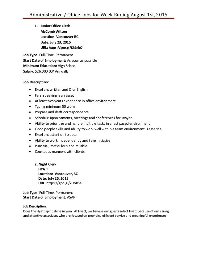 Administration Job Posting For Week August 1St 2015