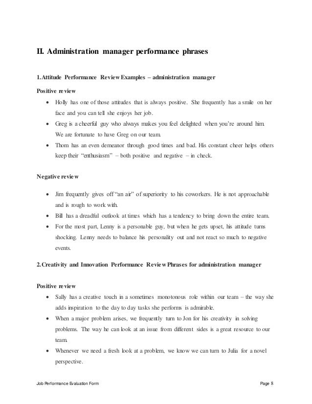 administration-manager-performance-appraisal-8-638 Office Performance Evaluation Examples on for teamwork, forms for job, employee work, filled out, to write,