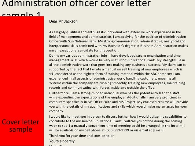 cover letter sample administrative officer