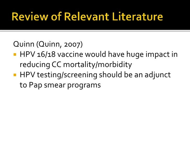 literature review for hpv vaccine