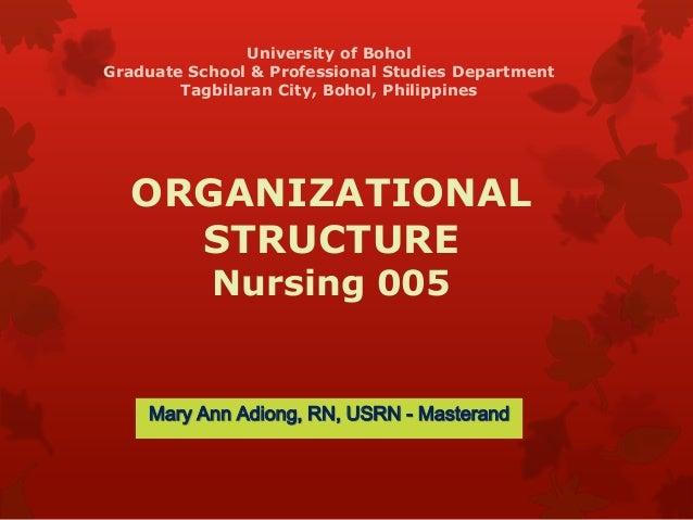 ORGANIZATIONAL STRUCTURE Nursing 005 Mary Ann Adiong, RN, USRN - Masterand University of Bohol Graduate School & Professio...