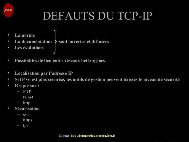 © Jean-Antoine Moreau copying and reproduction prohibited Contact http://jeanantoine.moreau.free.fr DEFAUTS DU TCP-IPDEFAU...