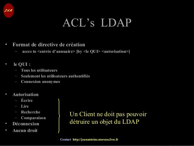 © Jean-Antoine Moreau copying and reproduction prohibited Contact http://jeanantoine.moreau.free.fr ACL's LDAPACL's LDAP •...