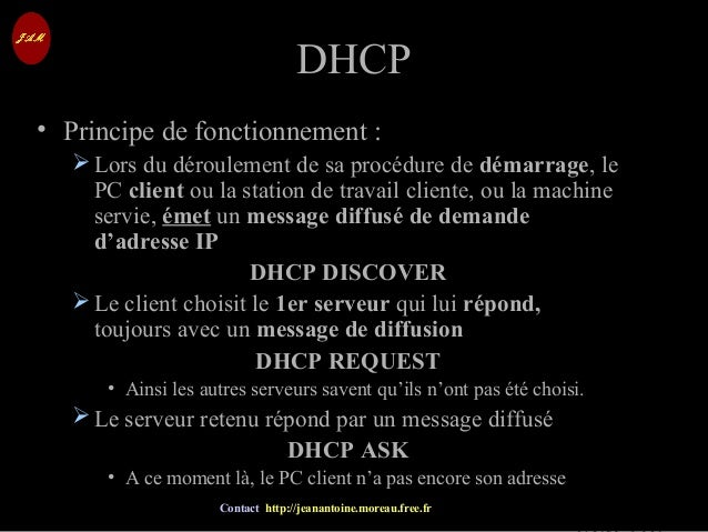 © Jean-Antoine Moreau copying and reproduction prohibited Contact http://jeanantoine.moreau.free.fr DHCPDHCP • Principe de...