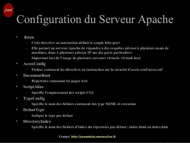 © Jean-Antoine Moreau copying and reproduction prohibited Contact http://jeanantoine.moreau.free.fr Configuration du Serve...