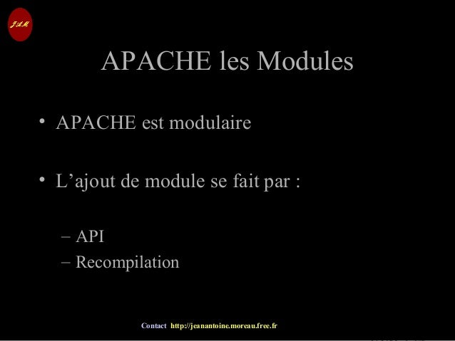 © Jean-Antoine Moreau copying and reproduction prohibited Contact http://jeanantoine.moreau.free.fr APACHE les ModulesAPAC...