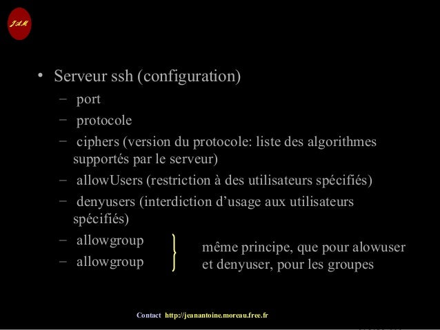 © Jean-Antoine Moreau copying and reproduction prohibited Contact http://jeanantoine.moreau.free.fr SSH • Serveur ssh (con...