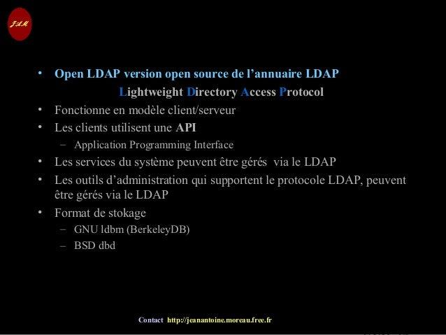 © Jean-Antoine Moreau copying and reproduction prohibited Contact http://jeanantoine.moreau.free.fr LDAP• Open LDAP versio...