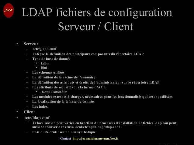 © Jean-Antoine Moreau copying and reproduction prohibited Contact http://jeanantoine.moreau.free.fr LDAP fichiers de confi...