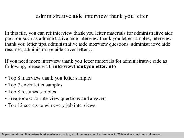 Administrative Aide Interview Thank You Letter In This File, You Can Ref  Interview Thank You ...